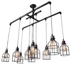 brushed iron 1 tier linear chandelier with wire guard metal