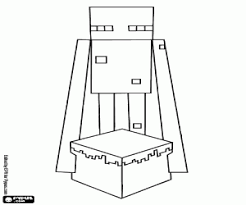 An Enderman With A Cake Minecraft Coloring Page Printable Game