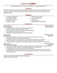 Security Officer Resume Examples Security Guard Law Enforcement And Security  Adalyn Curry ...