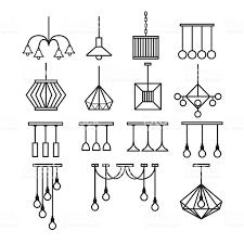 Lampe Vektor Kronleuchter Vektor Schmücken Symbolset Stock