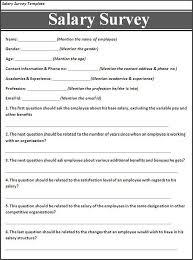 Salary Survey Template My Likes Survey Template Sample Resume