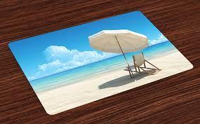 Amazoncom Lunarable Coastal Place Mats Set Of 4 Scenic Picture Of