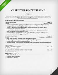 Caregiver Resume Examples Examples Of Resumes