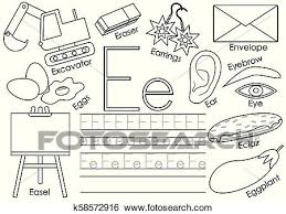 Letter l worksheets, flash cards, coloring pages. Letter E English Alphabet Educational Game For Children Writing Practice Coloring Book Vector Illustration Clip Art K58572916 Fotosearch