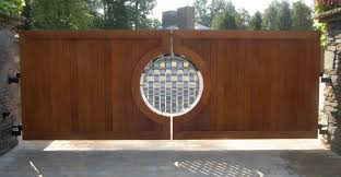 mesmerizing rounded artwork panels wooden driveway gates as amazing wooden front gate also pavers front yard ideas