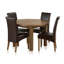 knightsbridge 4ft rustic solid oak round extending dining table 4 scroll back brown leather chairs express delivery