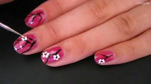 Easy Cherry Blossom Nail Art for Short Nails - YouTube