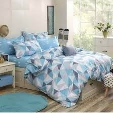Blue with Triangle print teenager's men's Bedding Set Duvet Cover King  Queen Full Size #Black
