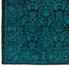 wool rug teal dark reserve damask black