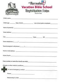 printable registration form template printable vbs registration form template conference pinterest