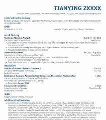 Strategic Planning Analyst Sample Resume