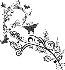 葉っぱや草木のイラスト画像フリー素材白黒no732白黒枝葉蝶