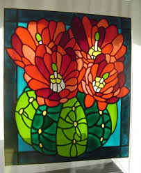 cactus stained glass effect window painting window cling sun catcher 34 x 30 cm 13 5 x 11 75 rainbow glass craft