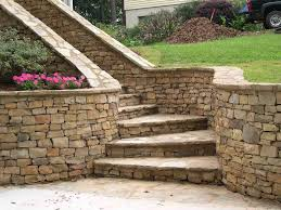 Concrete Block Stairs With Stone