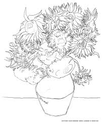 Small Picture Van gogh tournesols Master pieces Coloring pages for adults
