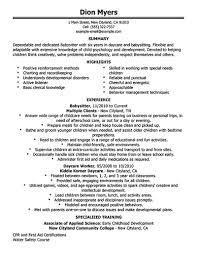 Babysitter Cv Sample Resume For Babysitter Babysitter Resume Is