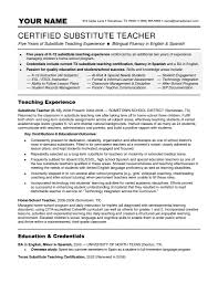 Cover Letter Substitute Teacher Cover Letter Sample Resume For Substitute Teacher With No
