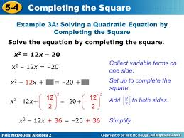 example 3a solving a quadratic equation by completing the square