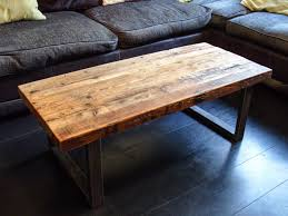 coffee table with steel box section legs rustic reclaimed scaffold board top
