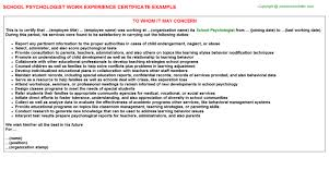 School Psychologist Job Experience Letter