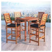 outdoor bar height table and chair sets. miramar 5pc square wood patio bar height dining set - cinnamon brown/black corliving outdoor table and chair sets t