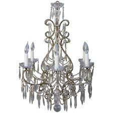 six light italian macaroni beaded chandelier with crystal bobeches for