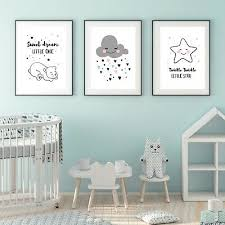 Kinderposter   Sweet Dream   Set Kinderzimmer Baby A4 Wand Deko Stern Wolke