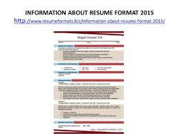 Resume Format For 2015 Resume Formats