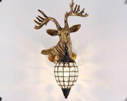 reindeer head antler wall sconces crystal lamps hanging lights deer faux taxidermy mount decor