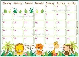 August Theme Calendar Calendar August 2019 Jungle Planner Printable Cute Planner