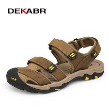 DEKABR New Fashion Summer <b>Shoes Cow Leather Men Sandals</b> ...