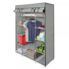 portable closet wardrobe clothes rack storage organizer with shelf gray