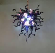 hand blown glass chandelier cobalt teal purple lighting chandelier art glass lighting