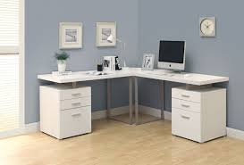 outstanding white l shaped home office desks which has small desk lamp in the corner and placed below analog clock also two small paintings buy shape home office