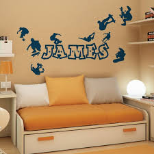 personalised name boys wall art sticker skaters skateboard park skate