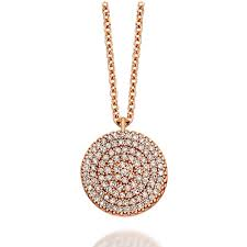 large icon 14ct rose gold diamond pendant
