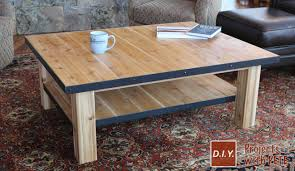 wood coffee table with steel accents