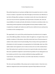 practical experience essay secondary school teachers