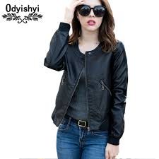 5xl spring jacket pu leather short coats female jacket fashion woman autumn thicker jacket womens