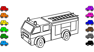 Learn color for kids with car and truck coloring pages, fire truck ...
