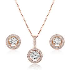 silver rose gold plated cubic zirconia pendant and stud earring set large necklace best stainless steel
