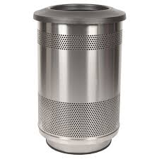 55 gallon perforated waste receptacle with flat top in stainless steel