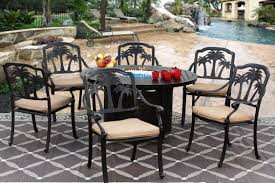palm tree cast aluminum outdoor patio 7pc set 50 inch round fire table series 4000 with sunbrella sesame linen cushion