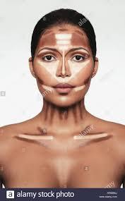 close up portrait of contour and highlight makeup on female model professional contouring face makeup technique
