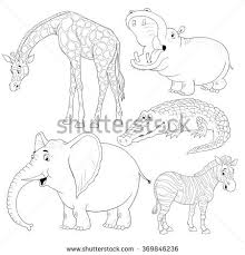 Small Picture Small Set African Animals Cute Giraffe Stock Illustration