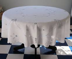 vintage swiss white cotton round tablecloth eyelet white embroidery large 70