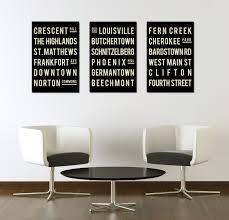 Living Room Artwork Decor Louisville Poster Subway Sign Typography Print Living Room