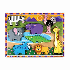 melissa doug safari wooden chunky puzzle