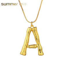fashion 26 inital letter name bamboo pendants necklace for women gold color a z alphabet snake chain necklace jewelry whole