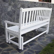 S  4Ft Outdoor Patio Glider Chair Loveseat Bench In White Wood Finish